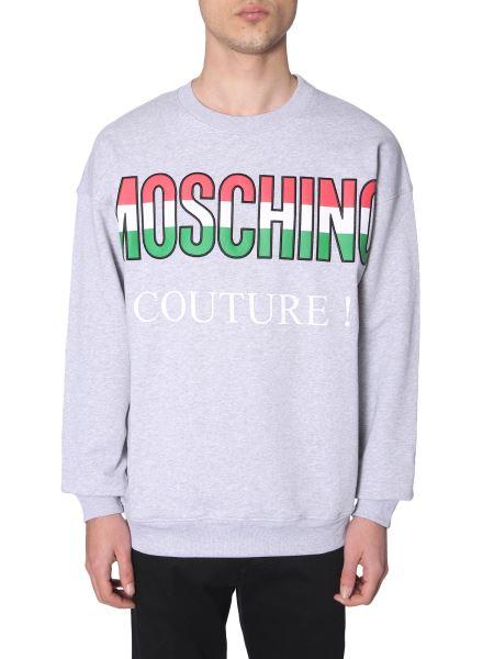Moschino - Felpa In Cotone Con Italian Logo Gommato