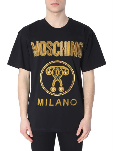 Moschino - Double Question Mark Embroidered Cotton T-shirt