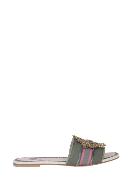 Mr & Mrs Italy - Leather And Denim Sandals With Embroidered Patch