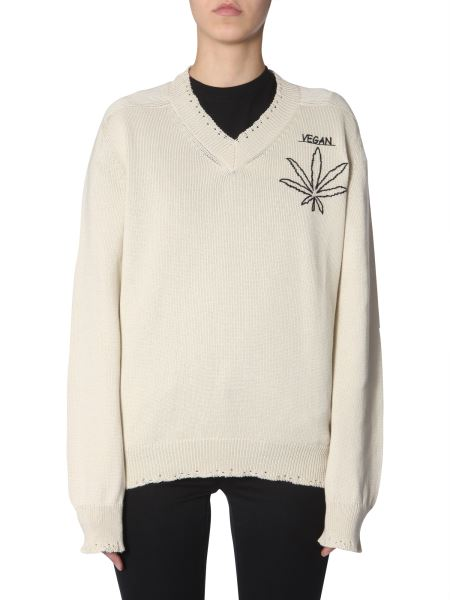"Riccardo Comi - V-neck Cotton Sweater With ""vegan"" Embroidery"
