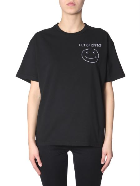 """Riccardo Comi - Cotton T-shirt With """"out Of Office"""" Embroidery"""
