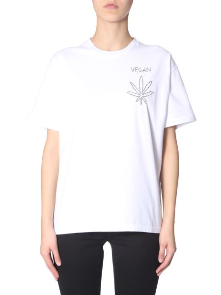 """Riccardo Comi - Cotton T-shirt With """"vegan"""" Embroidery"""
