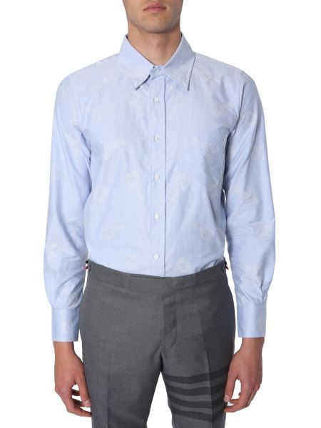 Thom Browne - Cotton Oxford Button Down Shirt With Embroidery