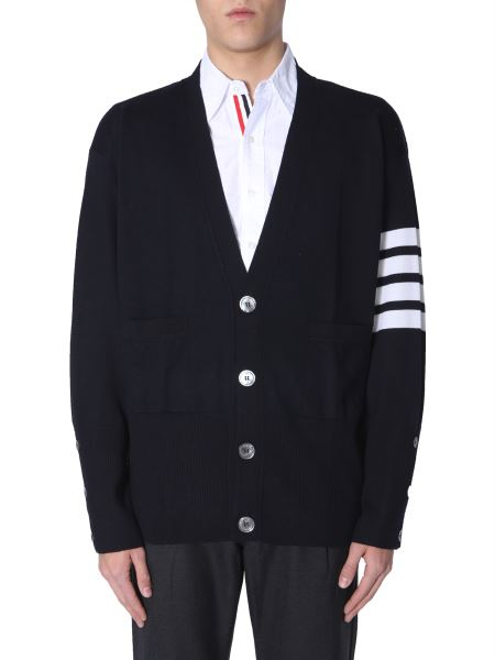 Thom Browne - Oversize Fit Merino V-neck Cardigan Sweater
