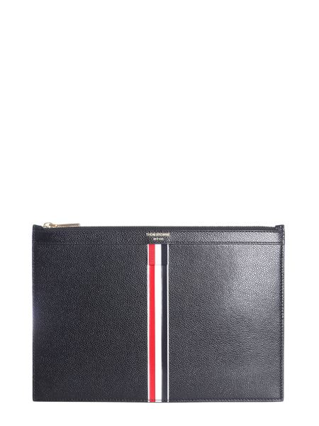 ce30081a12 Thom Browne Granulated Leather Clutch With Iconic Stripes Men ...