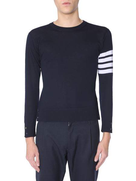Thom Browne - Crew Neck Sweater With Striped Details