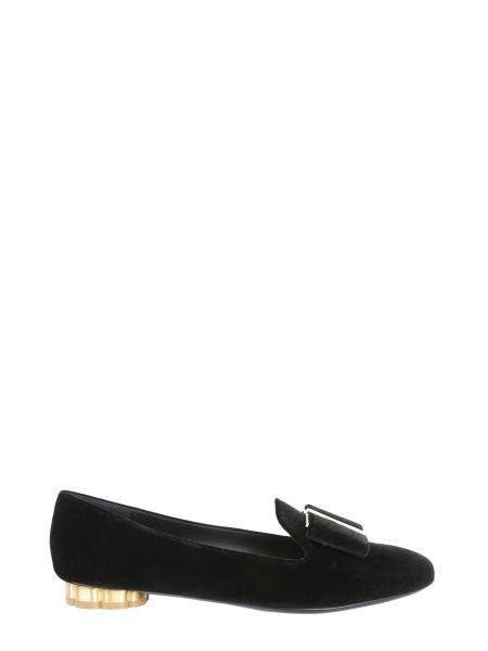 Salvatore Ferragamo - Slippers With Velvet Flower Heel