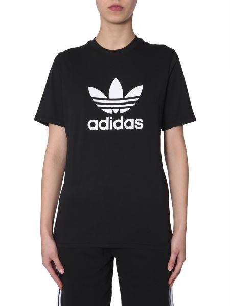 Adidas Originals - Cotton Round Neck T-shirt With Logo Print