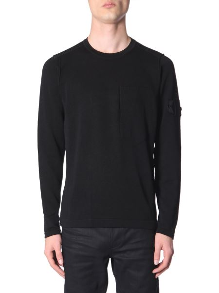 Stone Island Shadow Project - Cotton Crew Neck Sweater With Logo Patch