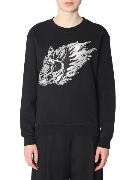 Mcq Alexander Mcqueen - Cotton Crew Neck Embroidered Sweatshirt