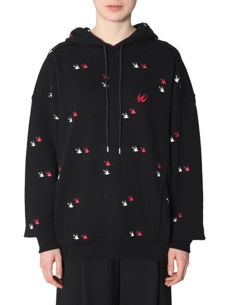 Mcq Alexander Mcqueen - Swallow Printed Cotton Sweatshirt With Hood