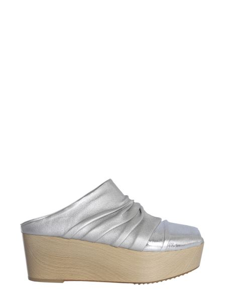 Rick Owens - Draped Leather Mules With Laminated Insert