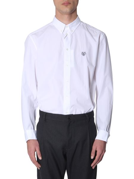 Kenzo - Button Down Shirt In Cotton With Embroidered Tiger