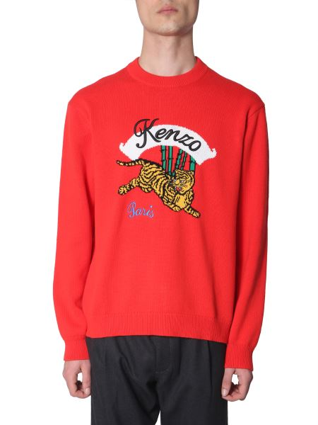 Kenzo - Wool Crew Neck Sweater With Tiger Inlay