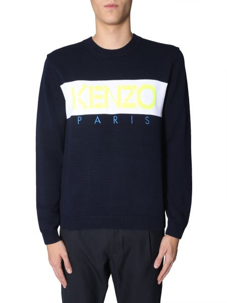 Kenzo - Crew Neck Sweater In Cotton With Inlay Logo