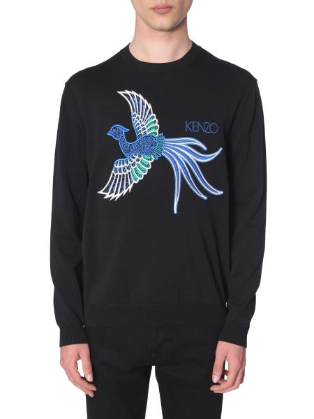 Kenzo - Embroidered Cotton-blend Crewneck Knit