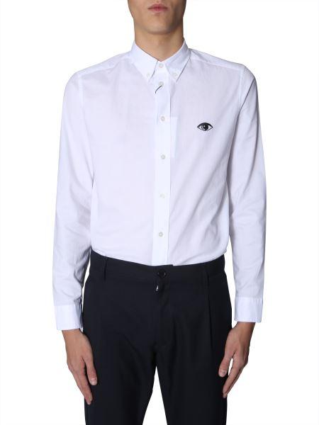 Kenzo - Camicia Button Down In Cotone Con Occhio Ricamato