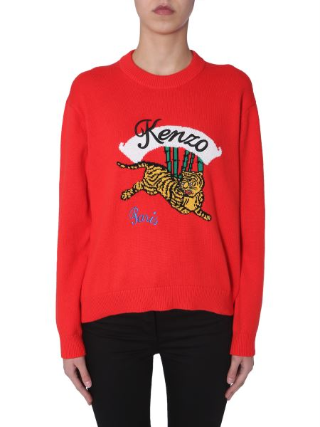 Kenzo - Cotton Mixed Neck Sweater With Tiger Inlay