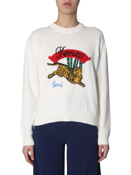 Kenzo - Mixed Cotton Crew Neck Sweater With Tiger Inlay