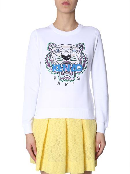 Kenzo - Cotton Crew Neck Sweatshirt With Tiger Embroidery