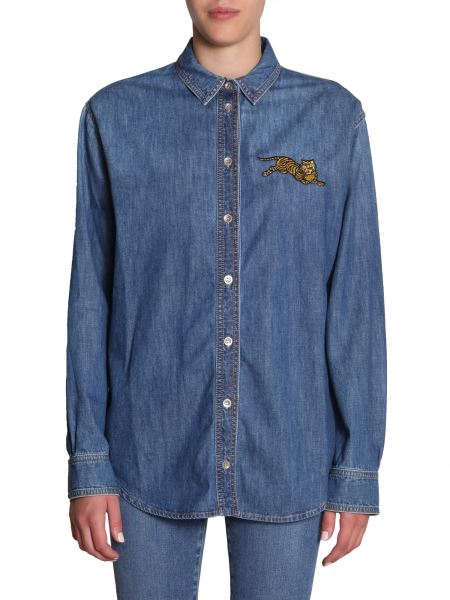 Kenzo - Denim Shirt With Embroidered Tiger