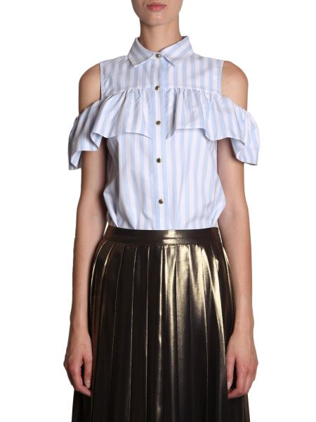 Michael By Michael Kors - Striped Cotton Shirt With Ruches