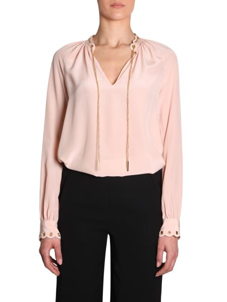 Michael By Michael Kors - Silk Shirt With Drawcord