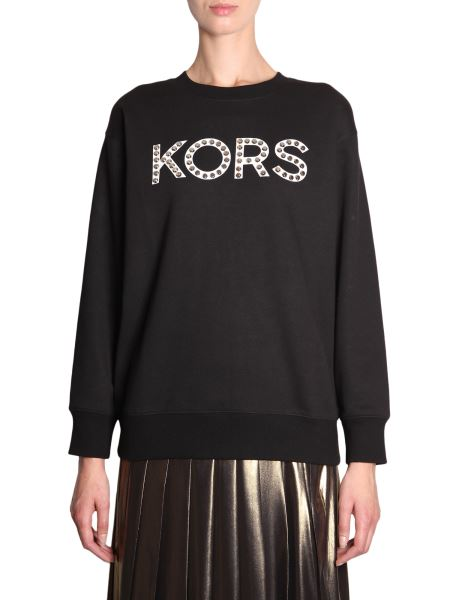 Michael By Michael Kors - Cotton Mixed Sweatshirt With Studded Logo
