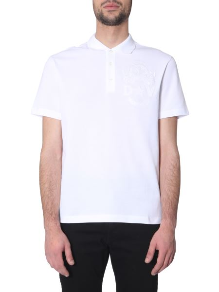 Versace - Flag Embroidered Cotton Pique Polo T-shirt