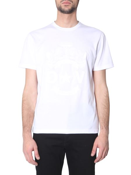 Versace - Flag Motif Round Neck Cotton T-shirt