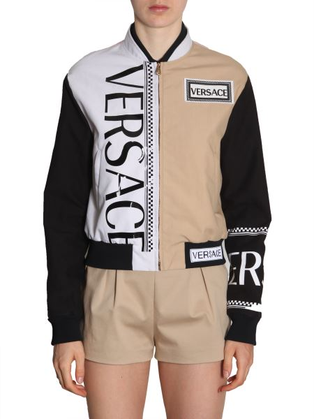 Versace - Cotton Color Block Bomber Jacket With Logo