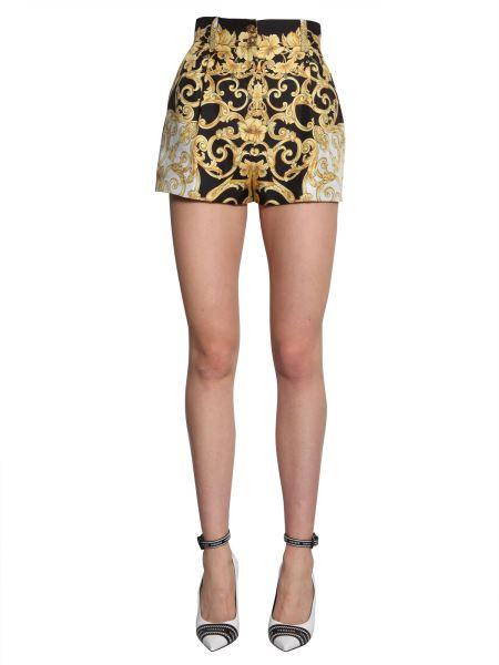 Versace - Silk High Waist Shorts In Baroque Print