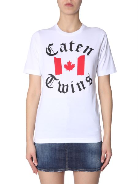 Dsquared - Cotton Crew Neck T-shirt With Caten Twins Print