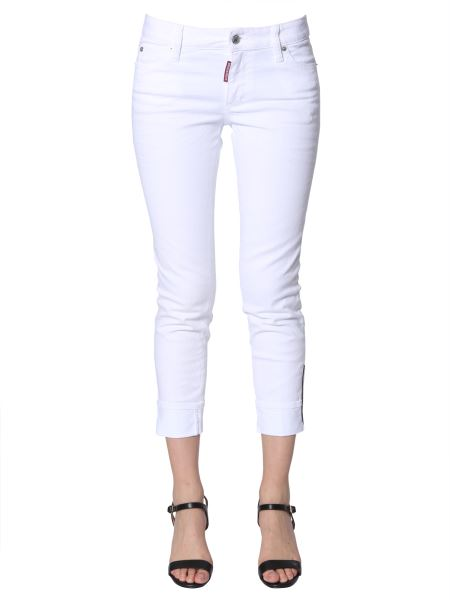 Dsquared - Super Skinny Fit Cropped Jeans With Patch Logo
