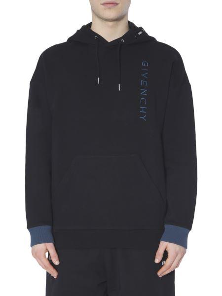 Givenchy - Felpa Con Cappuccio In Cotone Con Logo Ricamato