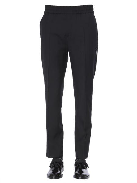 Givenchy - Pantalone Jogging In Twill Di Lana Con Logo Verticale Ricamato