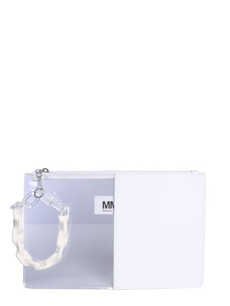 Mm6 Maison Margiela - Half-and-half Leather And Pvc Clutch