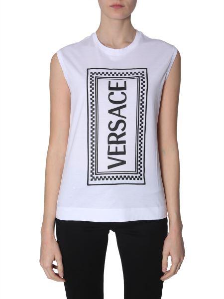 Versace - Top In Cotone Con Logo Ricamato