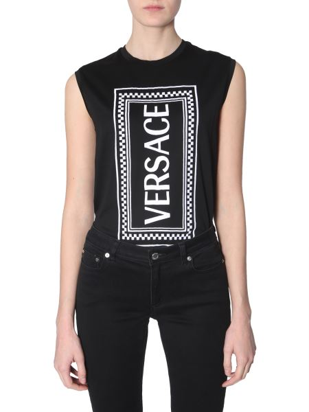 Versace - Cotton Jersey Top With Embroidered Logo