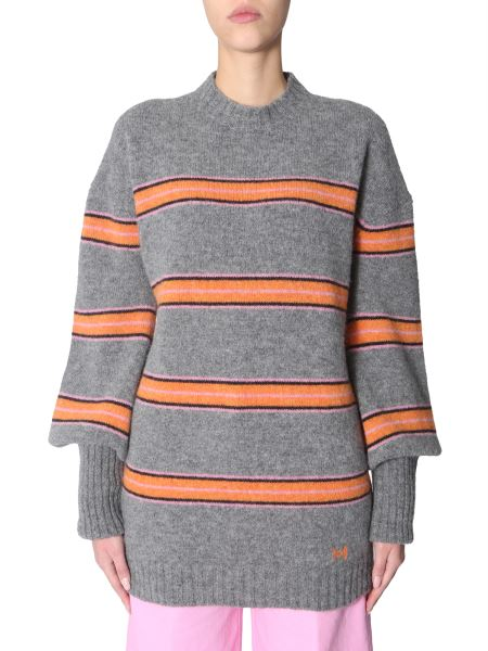 Msgm - Striped Wool Oversize Fit Sweater