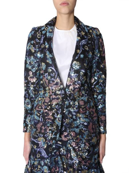 Self-portrait - Jacket With Floral Embroidery In Sequins