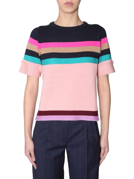 Ps By Paul Smith -  short-sleeved Stretch Wool Sweater