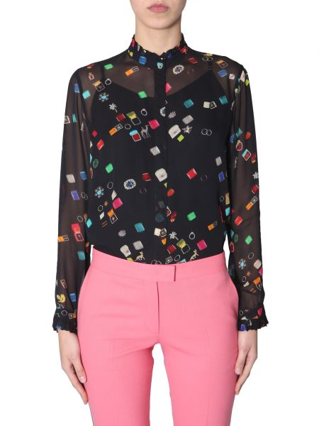 Ps By Paul Smith - Shirt With Korean Collar With Ring Boxes Print