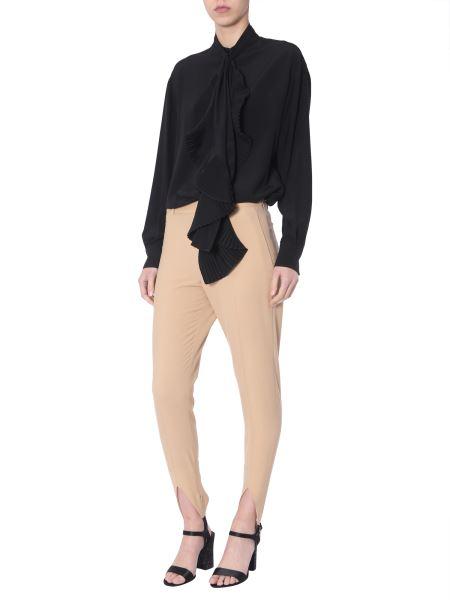 Givenchy - Camicia In Seta Con Collo A Sciarpa Plissé
