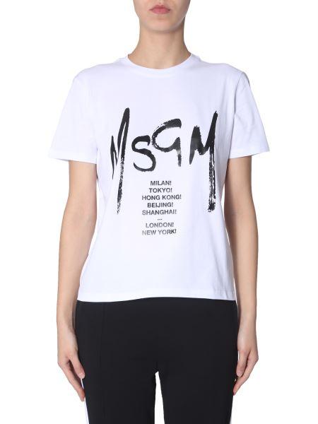 Msgm - T-shirt Brush-printed Logo And World Capitals