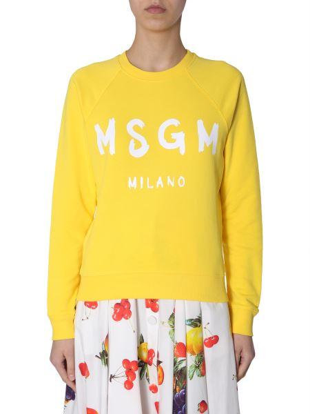 Msgm - Cotton Crew Neck Sweatshirt With Brush-printed Logo