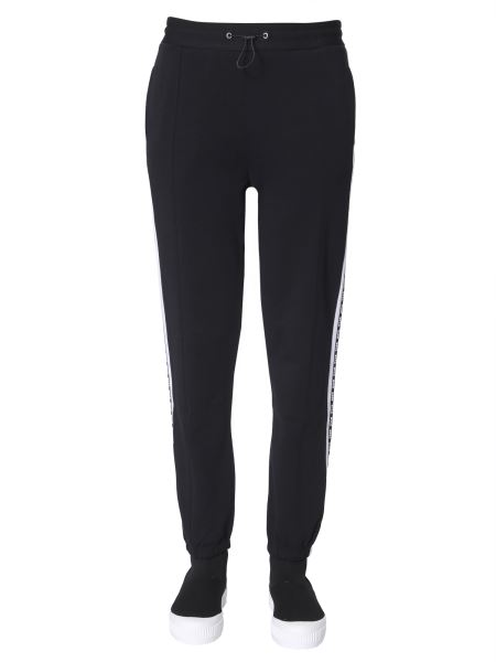 Msgm - Cotton Jogging Trousers With Logo Bands