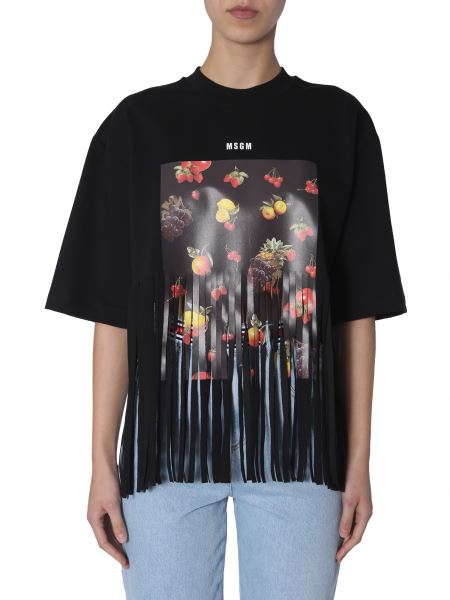 Msgm - Fruit Printed Cotton T-shirt With Fringes