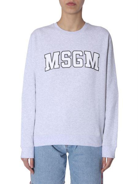 Msgm - Cotton Crew Neck Sweatshirt With Logo College Print
