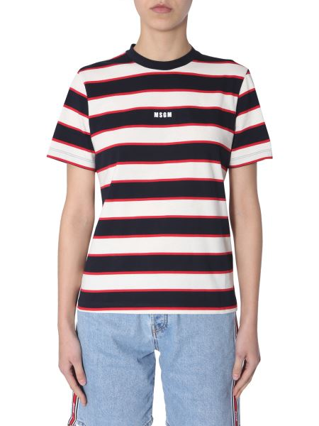 Msgm - Striped Cotton T-shirt With Micro Logo Print
